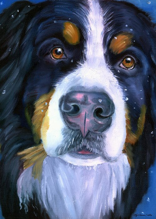 Bernese Mountain Dog Greeting Card featuring the painting Bernese Mountain Dog In Snowfall by Lyn Cook