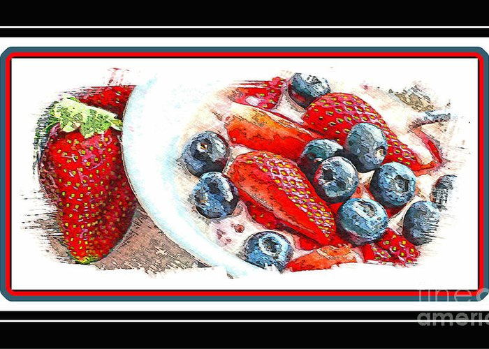 Berries And Yogurt Illustration - Food - Kitchen Greeting Card featuring the photograph Berries And Yogurt Illustration - Food - Kitchen by Barbara Griffin