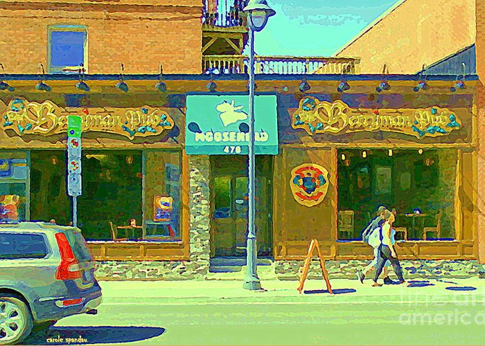 Berryman Pub The Glebe Sport Bar Burger Joint Old Ottawa Pub Scene  Storefront Cafe Painting Cspandau Greeting Card