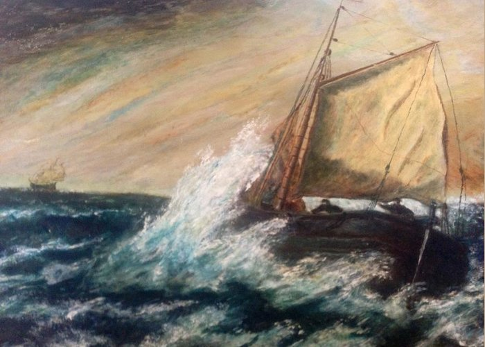 Boat Greeting Card featuring the painting Berts Boat by Judith Desrosiers