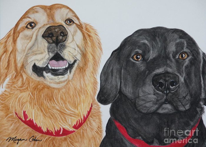 Dogs Greeting Card featuring the painting Best Buds by Megan Cohen