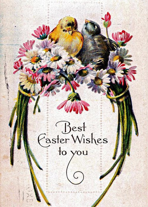 Easter Greeting Card featuring the photograph Best Easter Wishes To You 1909 Vintage Postcard by Audreen Gieger