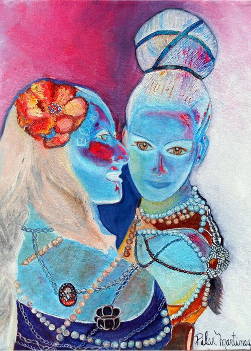 Friends Greeting Card featuring the painting Best Friends by Pilar Martinez-Byrne