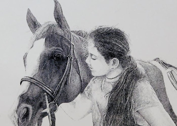 Pets Horses Horseback Riding Children Greeting Card featuring the painting Best Friends by Tony Ruggiero