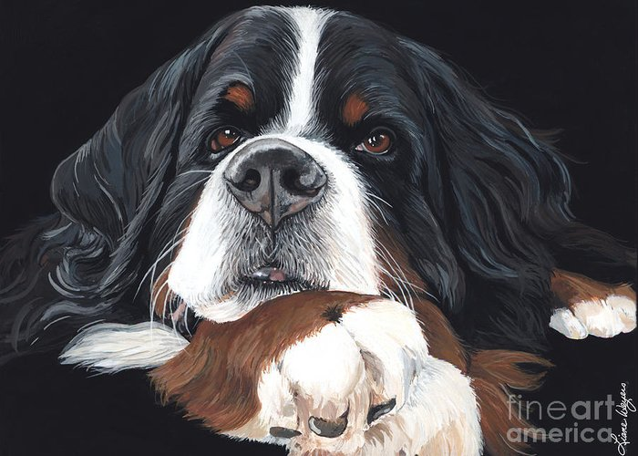 Handsome Bermese Mountain Dog On Black Background Bernese Mountain Pup Art Painting Liane Weyers Berner Puppy Mischief Love Artist Snoozing Cute Sweet Outstanding Best Artist Greeting Card featuring the painting Best In Black by Liane Weyers