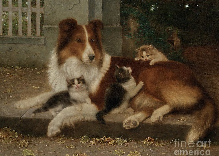 Best Of Friends Greeting Card featuring the painting Best Of Friends by Wilhelm Schwar