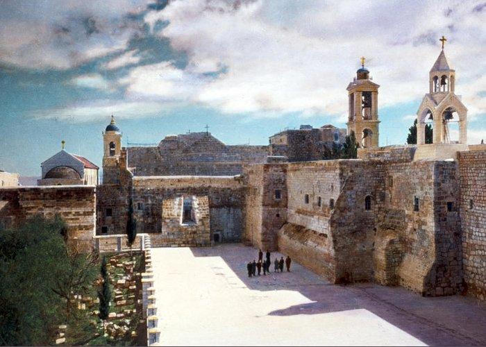 Vintage Greeting Card featuring the photograph Bethlehem 1950 by Munir Alawi