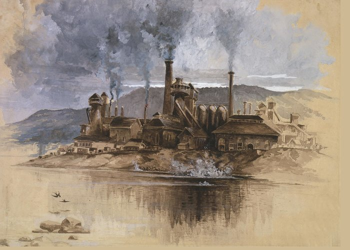 Bethlehem Steel Corporation Greeting Card featuring the painting Bethlehem Steel Corporation Circa 1881 by Aged Pixel