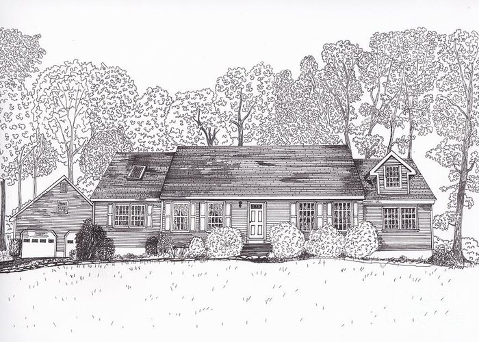 Architectural Drawings. Technical Illustrations Greeting Card featuring the drawing Betsy's House by Michelle Welles