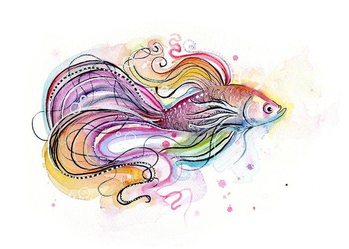 Betta Fish Greeting Cards