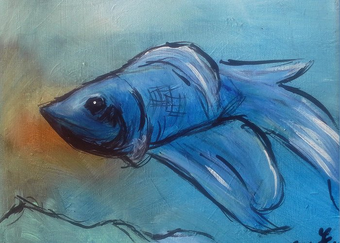 Betta Greeting Card featuring the painting Betta by Loretta Nash