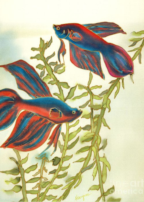 Painting Greeting Card featuring the painting Betta Splendens by Addie Hocynec