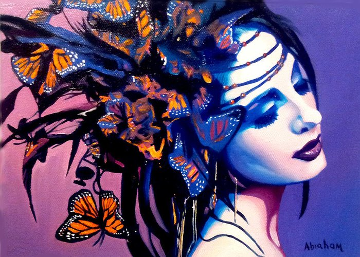 Butterflies Greeting Card featuring the painting Betty by Jose Manuel Abraham