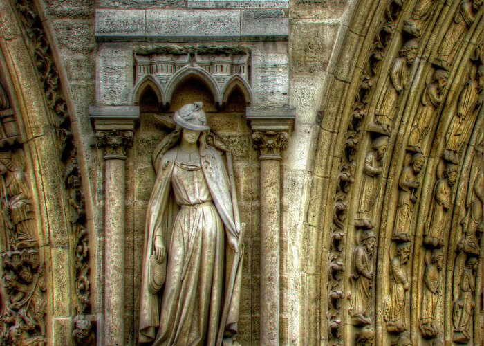 Statue Greeting Card featuring the photograph Between The Doors by Douglas J Fisher