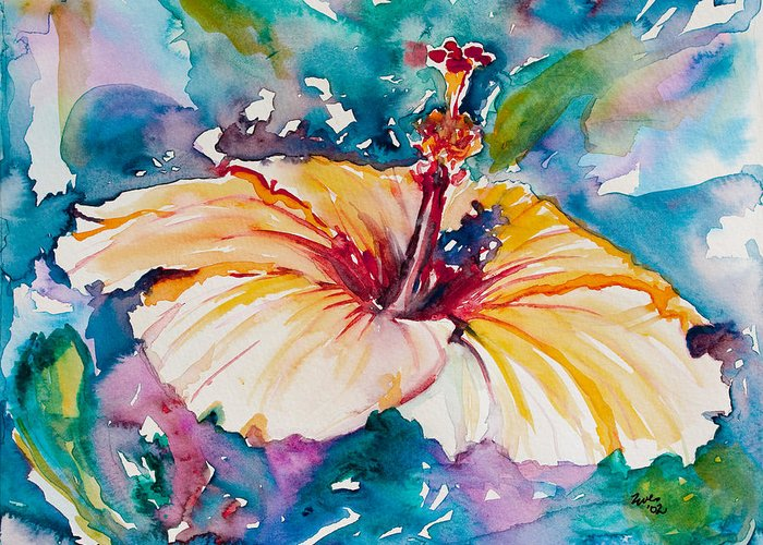 Hibiscus Greeting Card featuring the painting Beyond Blue by Eve Wheeler