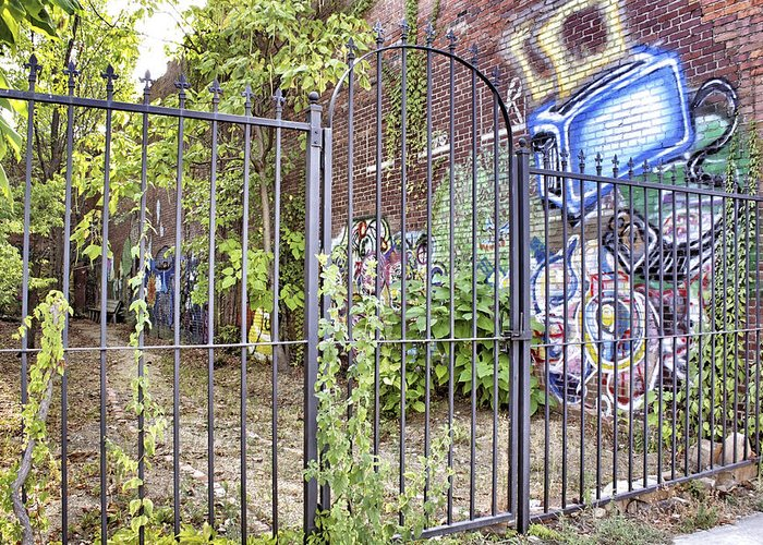 Graffiti Greeting Card featuring the photograph Beyond The Gate by Jason Politte