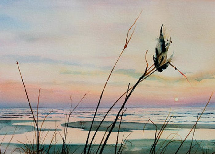 Sunset Art Prints Greeting Card featuring the painting Beyond The Sand by Hanne Lore Koehler