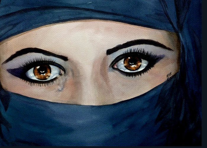Jihad Greeting Card featuring the painting Beyond The Veil by Michal Madison