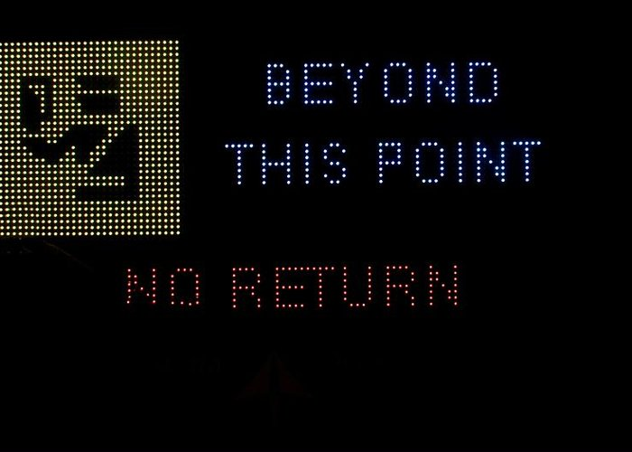 Sign Greeting Card featuring the photograph Beyond This Point No Return by Georgina Noronha