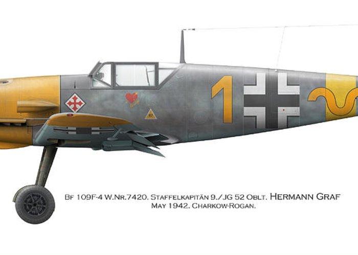 Luftwaffe Greeting Card featuring the digital art Bf 109f-4 W.nr.7420. Staffelkapitan 9./jg 52 Oblt. Hermann Graf. May 1942. Charkow-rogan. by Vladimir Kamsky