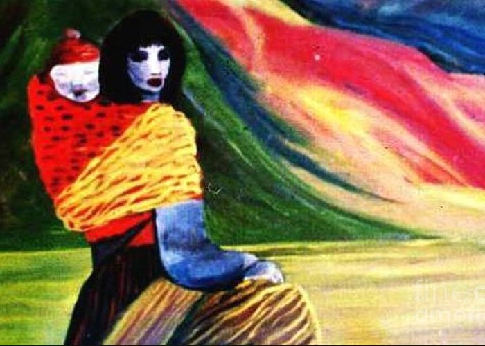 Bhutanese Greeting Card featuring the painting Bhutanese Mother And Baby by Duygu Kivanc