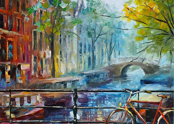 Amsterdam Greeting Card featuring the painting Bicycle In Amsterdam by Leonid Afremov