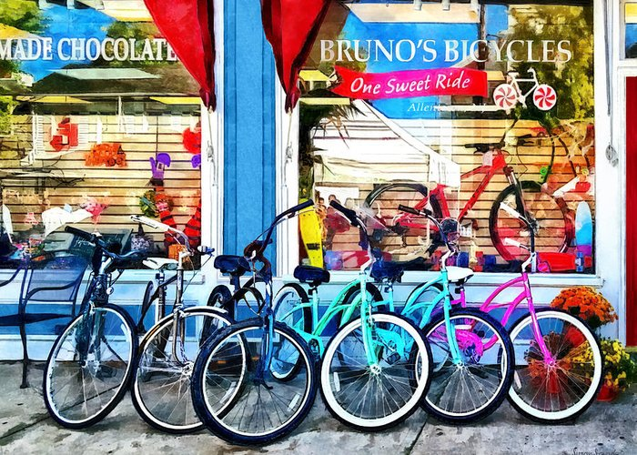 Allentown Greeting Card featuring the photograph Bicycles And Chocolate by Susan Savad