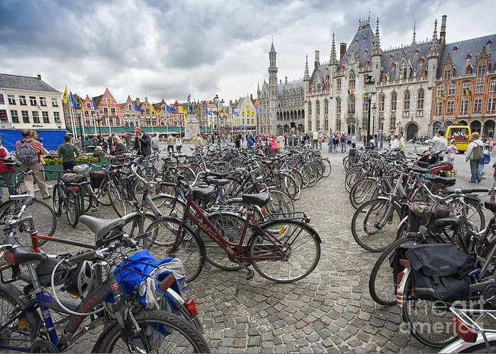 Brugge Greeting Card featuring the photograph Bicycles in Brugge by Sheila Smart Fine Art Photography