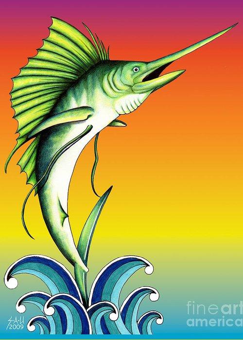 Swordfish Drawings Greeting Cards