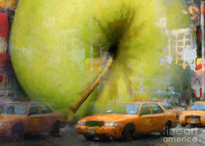 New York Painting Greeting Card featuring the painting Big Apple by Lutz Baar