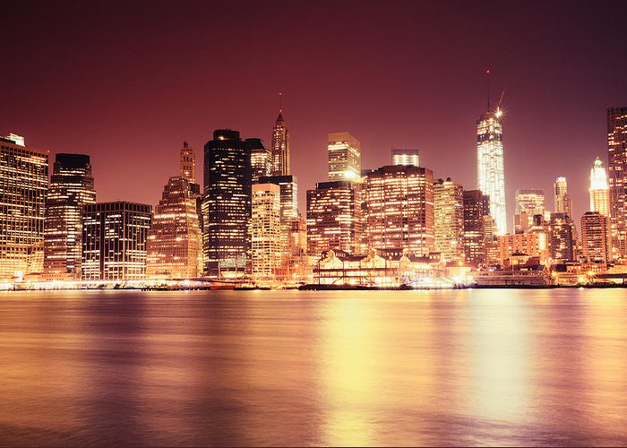 Nyc Greeting Card featuring the photograph Big Apple - Night Skyline - New York City by Vivienne Gucwa
