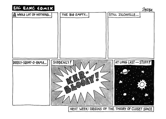 Big Bang Greeting Card featuring the drawing Big Bang Comix by Jack Ziegler