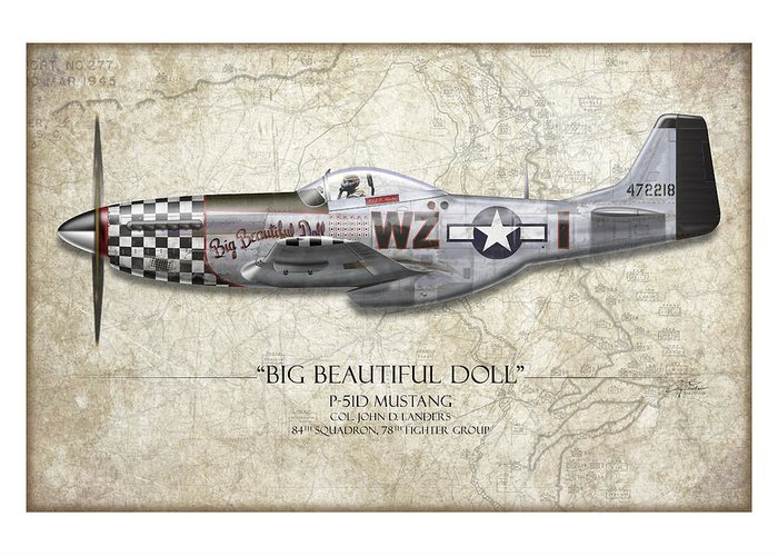 Aviation Greeting Card featuring the painting Big Beautiful Doll P-51d Mustang - Map Background by Craig Tinder
