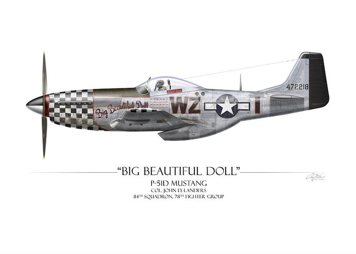 Aviation Greeting Card featuring the painting Big Beautiful Doll P-51d Mustang - White Background by Craig Tinder