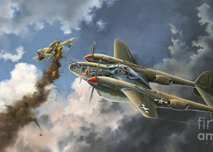 Aviation Art Greeting Card featuring the painting Big Beautiful Lass by Randy Green