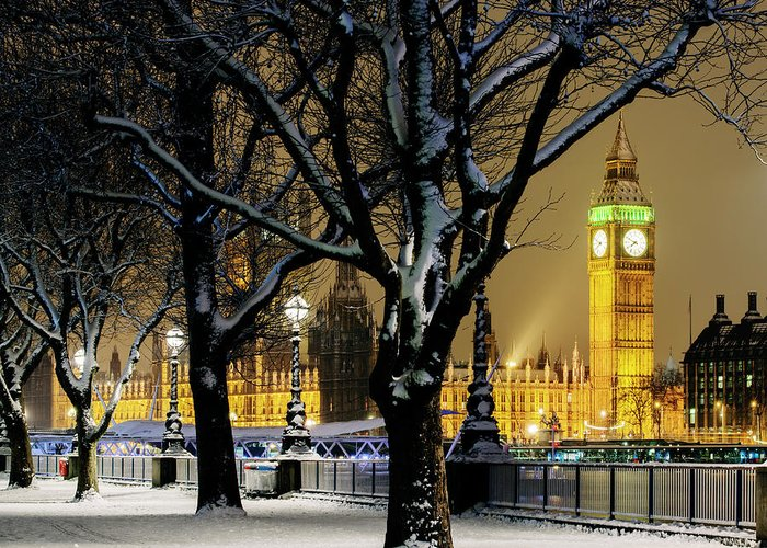 Tranquility Greeting Card featuring the photograph Big Ben And Houses Of Parliament In Snow by Shomos Uddin