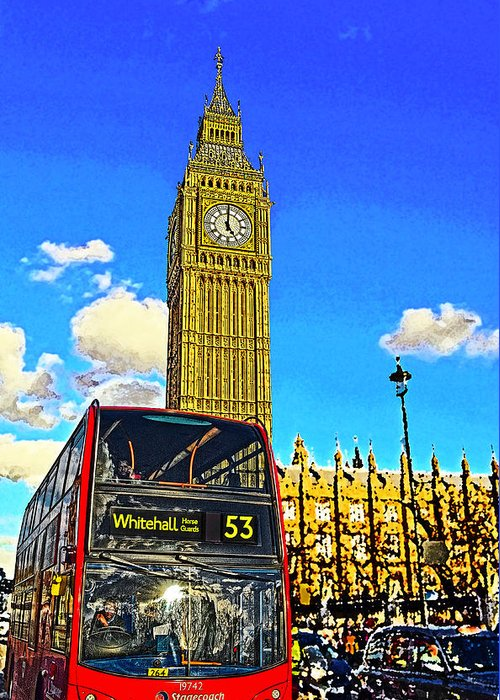England Greeting Card featuring the mixed media Big Ben And London Bus by Peter Allen