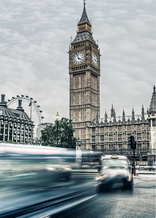 Gothic Style Greeting Card featuring the photograph Big Ben At Dusk With Passing Traffic - by Alpamayophoto