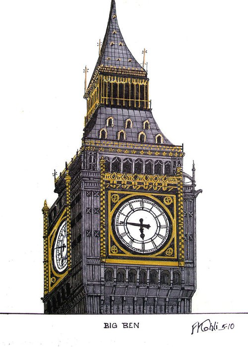 Ink Drawings Greeting Card featuring the drawing Big Ben by Frederic Kohli