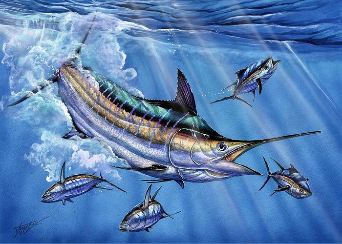 Blue Marlin Greeting Card featuring the painting Big Blue And Tuna by Terry Fox