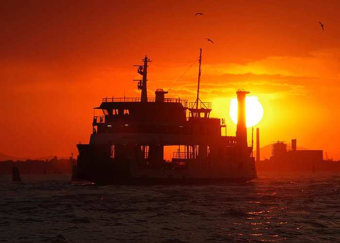 Architecture Greeting Card featuring the photograph Big Boat At Sunset by Ioan Panaite