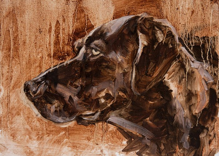 Dog Greeting Card featuring the painting Big Brown Dog by James Swanson