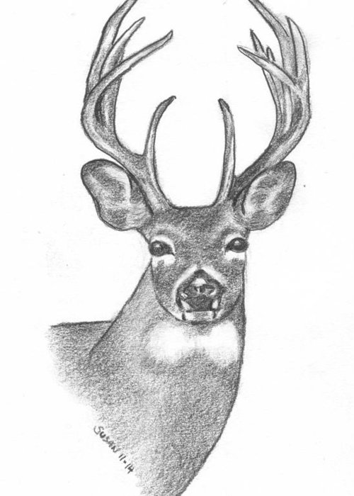 Deer Greeting Card featuring the painting Big Buck by Susan Snodgrass