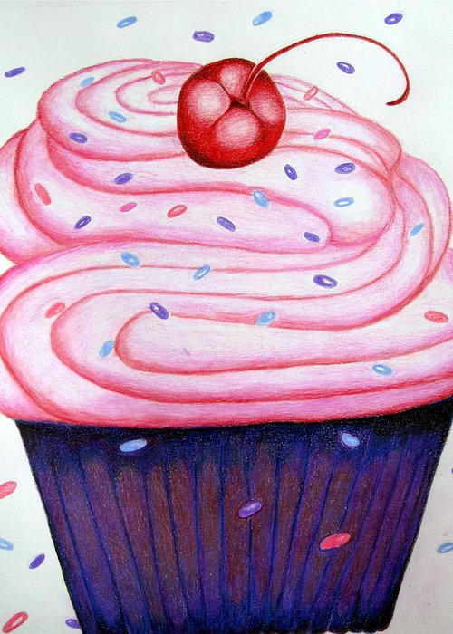 Cake Greeting Card featuring the drawing Big Cupcake by Kori Vincent