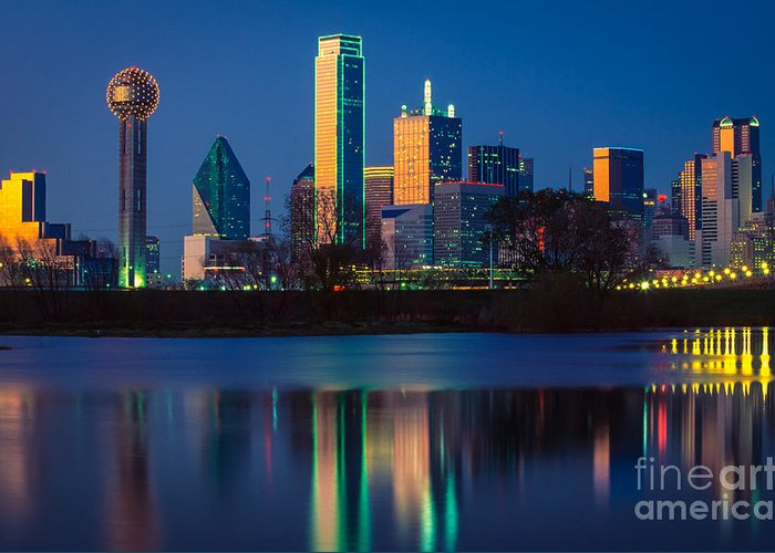 Dallas Greeting Card featuring the photograph Big D Reflection by Inge Johnsson