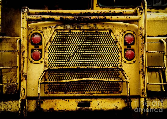 Bulldozer Greeting Card featuring the photograph Big Dump Truck Grille by Amy Cicconi