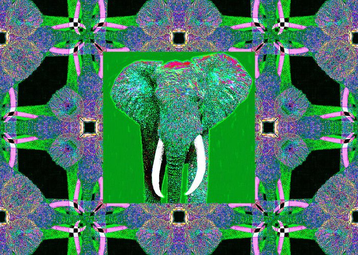 Elephant Greeting Card featuring the photograph Big Elephant Abstract Window 20130201p128 by Wingsdomain Art and Photography