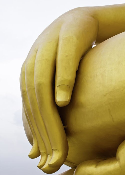 Thailand Greeting Card featuring the sculpture Big Hand Buddha Image by Tosporn Preede