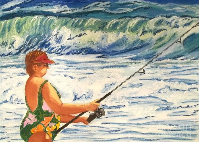 Figure Greeting Card featuring the painting Big Momma Fishin' by Frank Giordano