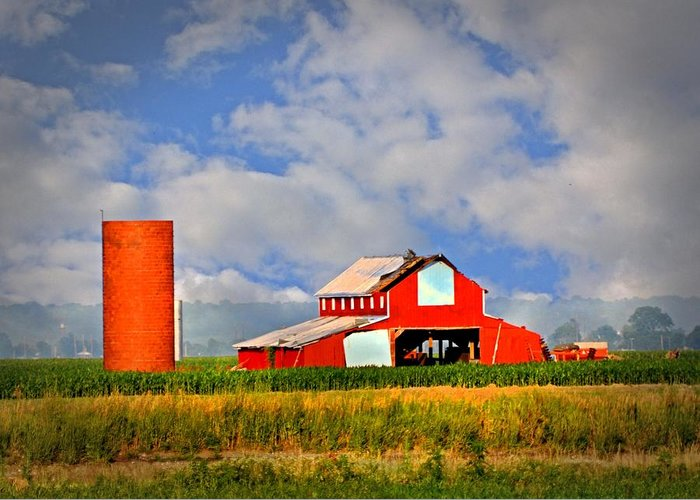 Barn Greeting Card featuring the photograph Big Red Barn by Marty Koch